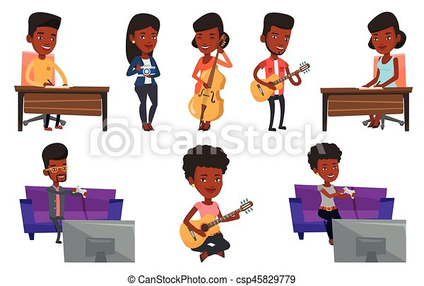 Vector set of media people characters. - csp45829779