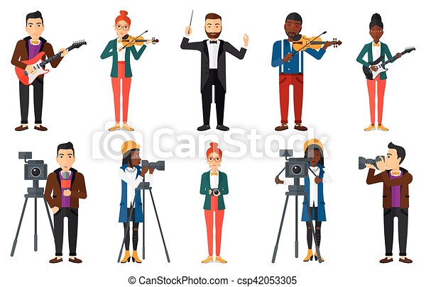 Vector set of media people characters. - csp42053305