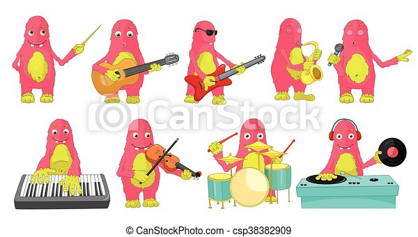 Vector set of monsters playing music illustrations - csp38382909