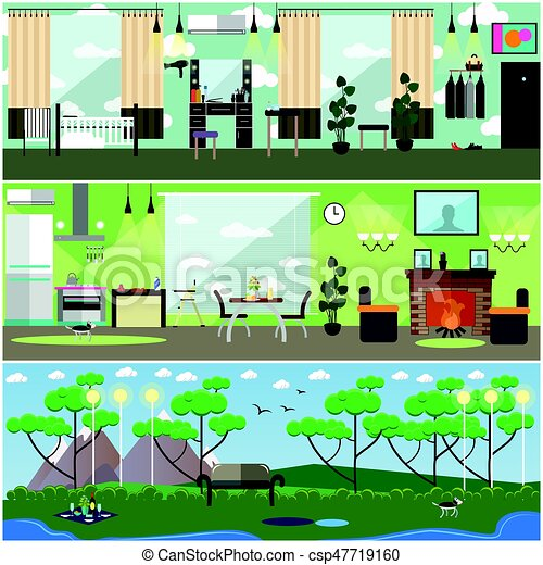 Vector set of mother interior posters, banners in flat style - csp47719160