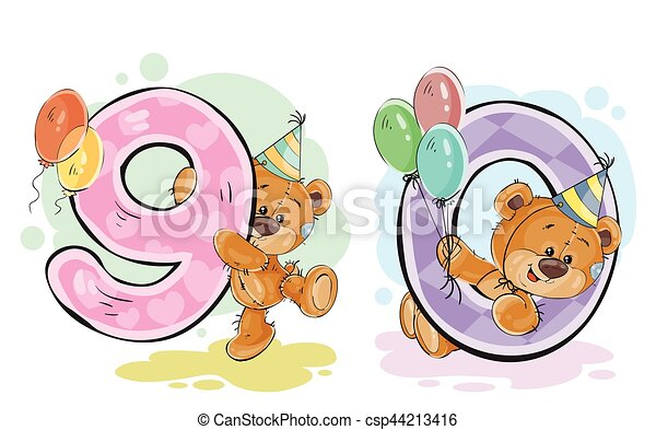 vector set of numbers with a fun teddy bear vector set of numbers