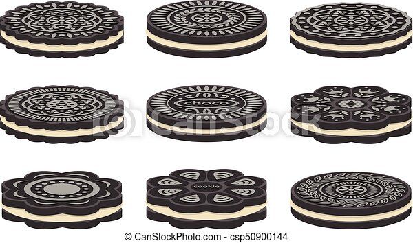 vector set of oreo cookie icons isolated on white eps vector rh canstockphoto com oreo clipart black and white free clipart oreo cookies