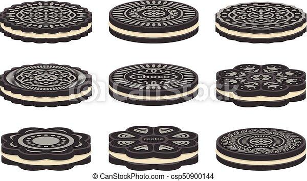 vector set of oreo cookie icons - csp50900144