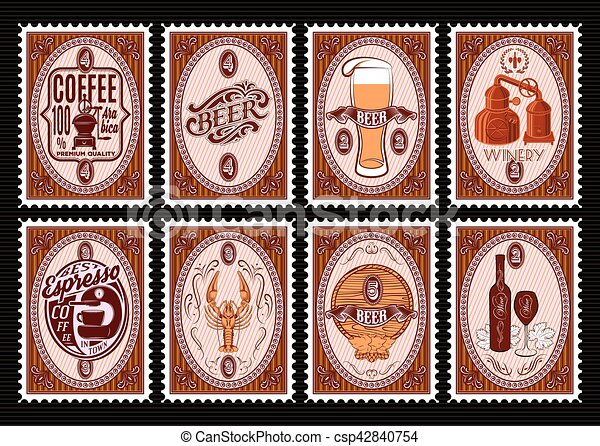 vector set of postage stamps template with various drinks vector