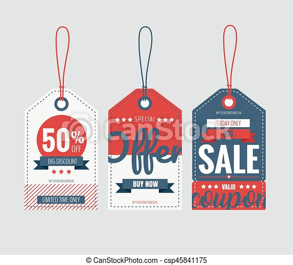 Vector Set of price tags, sale coupon - csp45841175