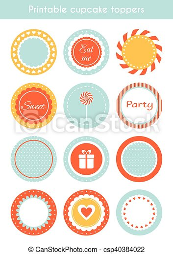 photograph relating to Printable Cupcake Toppers called Vector mounted of printable cupcake toppers, labels