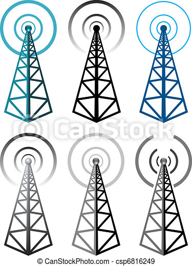 vector set of radio tower symbols - csp6816249