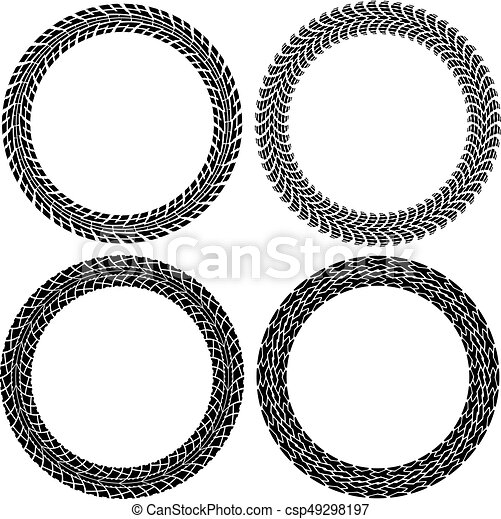 vector set of round tire tracks tractor and car circle eps rh canstockphoto com tire clipart vector