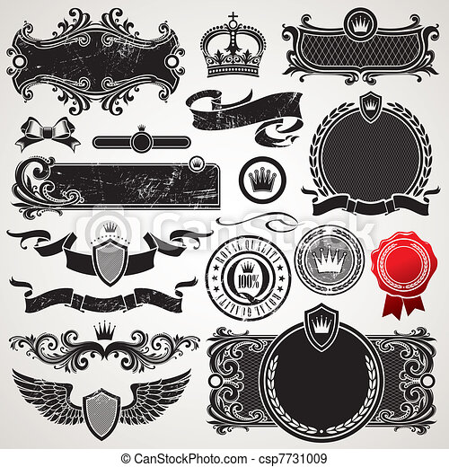 Vector set of royal ornate frames and elements - csp7731009
