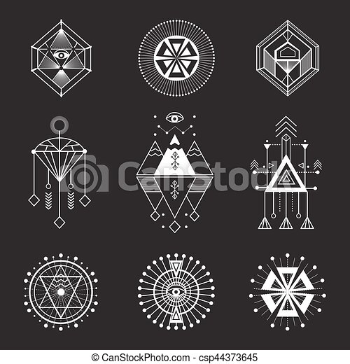 Vector Set Of Sacred Geometry Geometric Icons Shapes And Logos