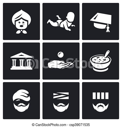 Vector Set of Social Payment Icons. Pension, Child benefit, Grant, Lending, Subsidy, Social nutrition, Homeless, Sick, Prison. - csp39071535