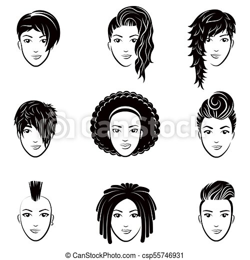 Vector Set Of Stylized Logo With Beautiful Women Hairstyles Fashion