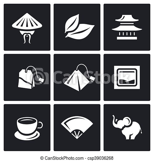 Vector Set Of Tea Icons China Leaf Temple Teabag Cup Ceremony
