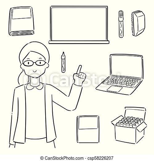 vector set of teacher and teaching equipment - csp58226207