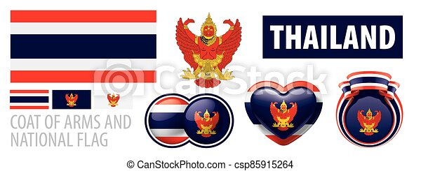 Vector set of the coat of arms and national flag of Thailand - csp85915264