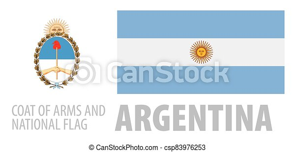 Vector set of the coat of arms and national flag of Argentina - csp83976253