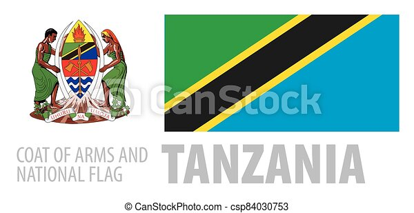 Vector set of the coat of arms and national flag of Tanzania - csp84030753