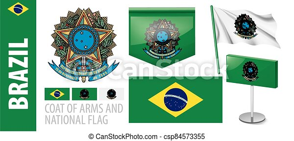 Vector set of the coat of arms and national flag of Brazil - csp84573355