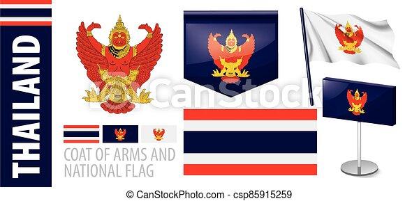 Vector set of the coat of arms and national flag of Thailand - csp85915259