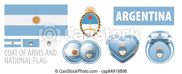Vector set of the coat of arms and national flag of Argentina - csp84916898