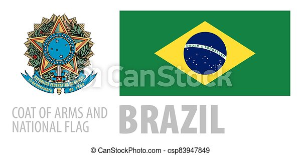 Vector set of the coat of arms and national flag of Brazil - csp83947849