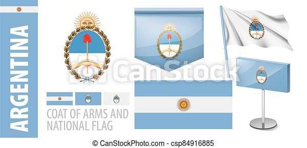 Vector set of the coat of arms and national flag of Argentina - csp84916885
