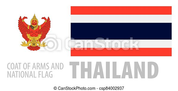 Vector set of the coat of arms and national flag of Thailand - csp84002937