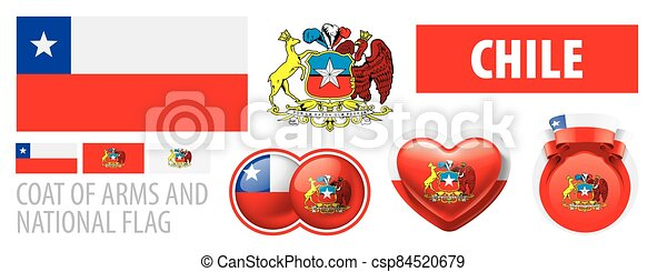 Vector set of the coat of arms and national flag of Chile - csp84520679