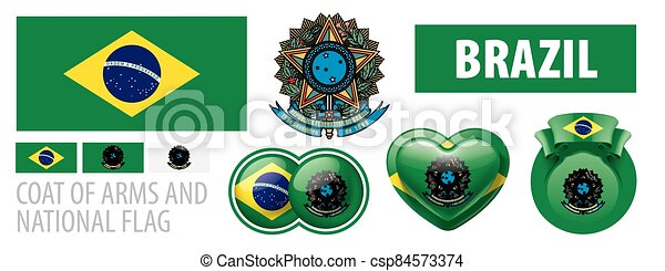 Vector set of the coat of arms and national flag of Brazil - csp84573374