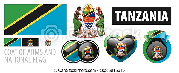 Vector set of the coat of arms and national flag of Tanzania - csp85915616