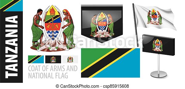Vector set of the coat of arms and national flag of Tanzania - csp85915608