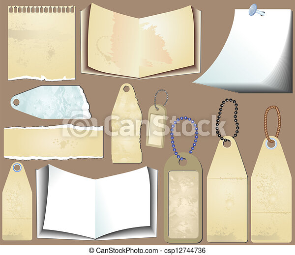 Vector set of the grunge scrapbooks - csp12744736