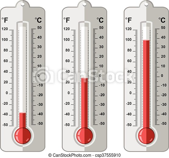 vector set of thermometers at different levels - csp37555910