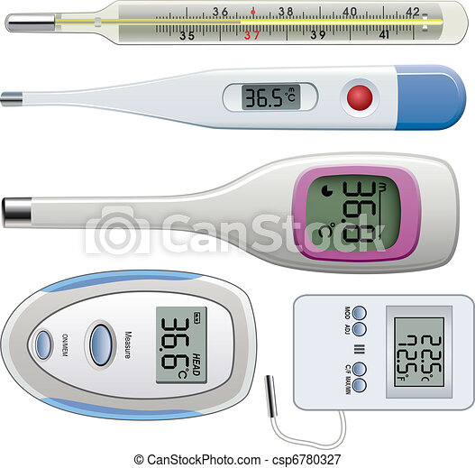 vector set of thermometers of different types - csp6780327