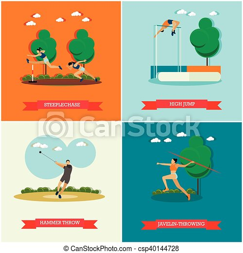Vector set of track and field athletics, flat design - csp40144728
