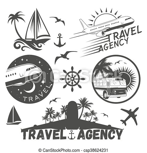 Vector set of travel and transportation labels in vintage style  Air  company, plane, bus