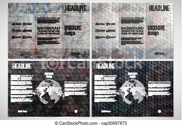 Vector set of tri fold brochure design template on both sides with vector set of tri fold brochure design template on both sides with world globe element graffiti wall abstract multicolored backgrounds geometrical maxwellsz