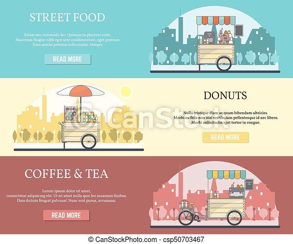Vector set of tricycle street food bike horizontal banners