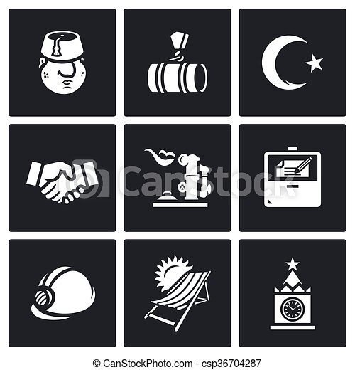 Vector Set Of Turkey And Russia Icons Turk Gas Pipeline Coat Of