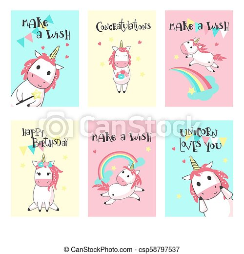 Vector Set Of Unicorn Birthday Greeting Cards