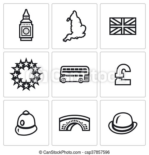 Vector Set Of United Kingdom Icons Tower Clock Territory Flag