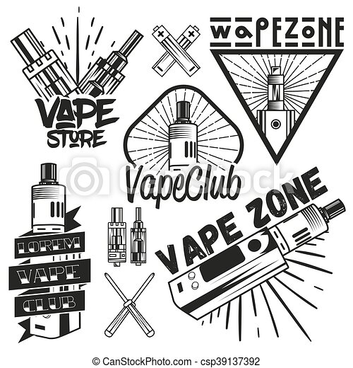 Vector set of vape shop labels in vintage style. Design elements, icons, logo, emblems and badges isolated on white background - csp39137392