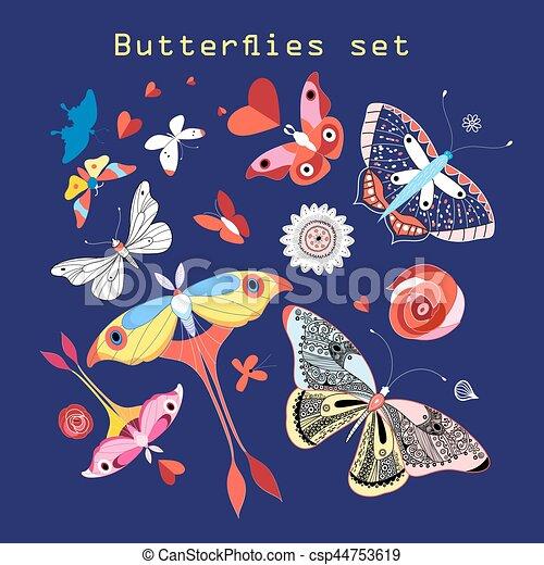 Vector set of various beautiful butterflies - csp44753619