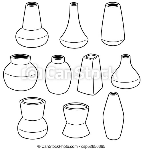 Vector Set Of Vase Clip Art Vector Search Drawings And Graphics
