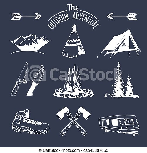 Vector set of vintage camping elements for logos, tourism emblems, badges   Retro signs collection of outdoor adventures