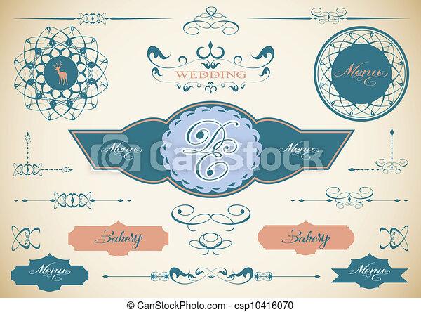 Vector set of vintage framed labels 0009 - csp10416070