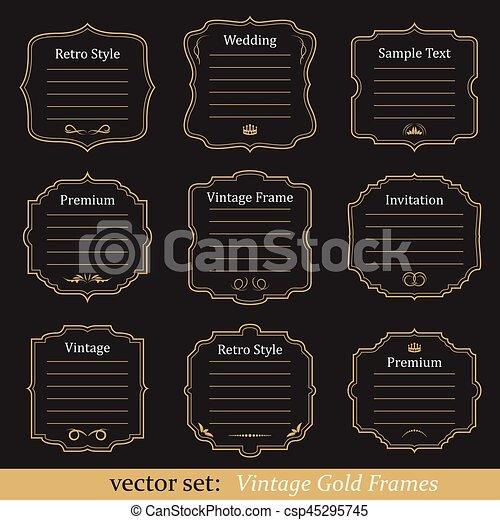 Vector set of vintage gold frames on black background.