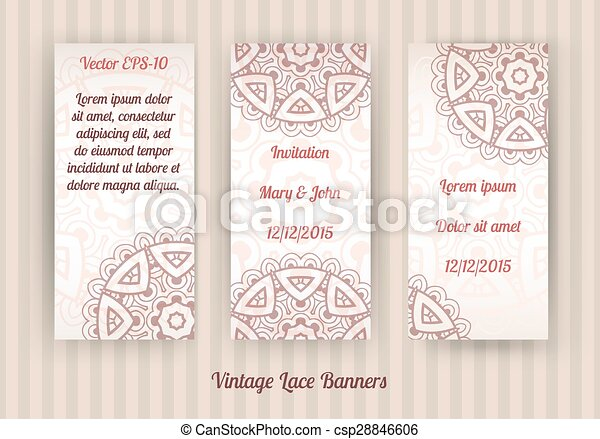vector set of vintage lace banners - csp28846606
