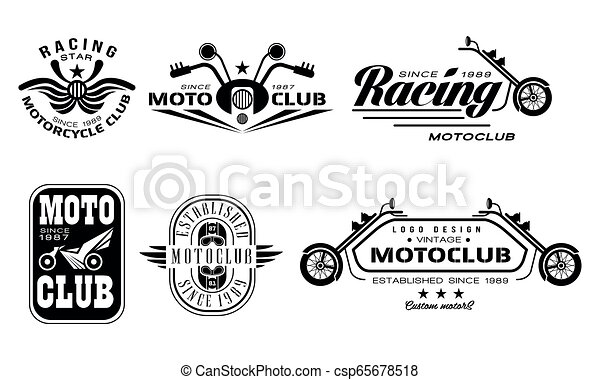 Vector set of vintage motorcycle club logos. Monochrome emblems with motorbikes, steering bars, helmets and text - csp65678518