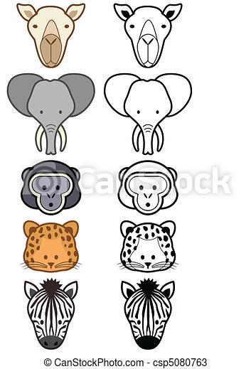 Vector set of wild or zoo animals. - csp5080763